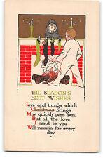 Christmas-Art Deco-Fireplace-Stockings-Dolls-Child-Mantel Clock-Antique Postcard