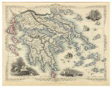 Greece Attica Macedonia Thessaly Crete illustrated map Tallis ca.1851