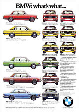 BMW E10 E3 E9 E12 RETRO A3 POSTER 2002 3.0 CSi 528 2500  70'S BMW MODELS