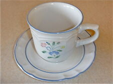 Hearthside Stoneware FLORAL EXPRESSIONS 2 cups 2 saucers JAPAN pink blue VG++