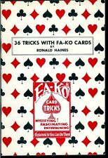 Rare Magic Book 36 Tricks With Fa-Ko Cards Ronald Haines Conjuring