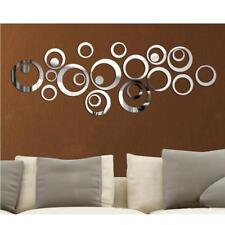 24x Cercle Sticker Miroir Murale Mederne Design Intérieur DIY Maison Art Déco