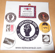 Northern Soul (1) 25mm 6 Button Badge Set, mod, scooterists