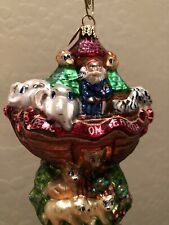 Rare Christopher Radko two by two Noah's ark Glass Christmas Ornament w/ Box