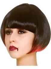 Dark Fantasy Black Red Bob Wig Witch Vampire Halloween Fancy Dress New