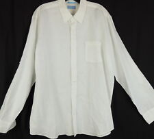 Toscano Mens L White Sexy LINEN Beachy Dress Shirt Button Down Roll Tab Sleeves
