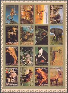 Ajman 1973 Fauna. Monkeys etc., mini sheet of 16 v. IMPERF. MNH