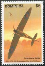 RAF SUPERMARINE SPITFIRE WWII Aircraft Mint Stamp (1993 Dominica)