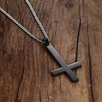 Inverted Cross Pendant Necklace Men Stainless Steel Jewelry