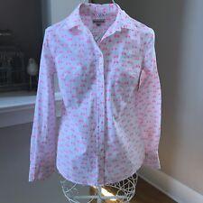 Ladies Merona long sleeve button down white & pink bicycle shirt size xs
