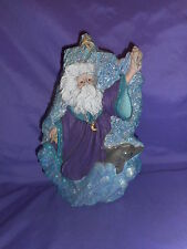 "HANDMADE CERAMIC COASTAL BEACH SANTA WITH FATHER CHRISTMAS ROBED 11"" DOLPHIN"