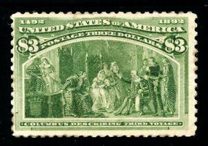 USAstamps Unused FVF US 1893 $3 Columbian Expo Third Voyage Scott 243 NH