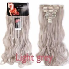 "Full Head 100% Natural 8Pcs 24""Clip In Hair Extensions dark brown to silver gray"