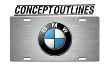 BMW White Carbon Premium Aluminium License Plate Tag Custom For Car TBMWWC