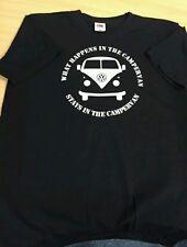 Printed VW CAMPERVAN T-Shirt 'what happens in the campervan....stays'