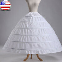 White 6 Hoop Wedding Dress Bridal Ball Gown Crinoline Petticoat Skirt Slip