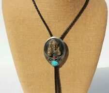 Silver Tone Turquoise Coral Southwestern Bolo Tie 3D Brass Grizzly Bear Relief