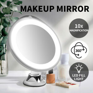 10x Magnifying Makeup Mirror Cosmetic Bathroom Mirrors w/LED Light 360° Rotation