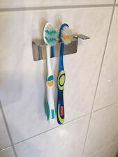 Edelstahlhalter Zahnbürstenhalter 3er auch für Aufsätze elektischer Zahnbürsten