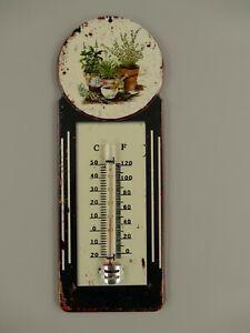 9977717-x Vintage Wand-Thermometer Blechschild Blumentöpfe Kräuter  29x11cm