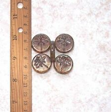 2pcs 24mm Dragonfly PICASSO CHUNKY Table Cut Coin Czech Glass Beads