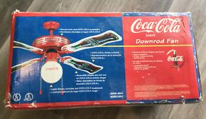 """NOS Coca Cola CEILING FAN 44"""" Coke Globe Glass Metal Light Rare Downrod Fan"""
