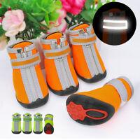 4pcs Anti-Slip Pet Dog Shoes Paw Protector Waterproof Rain Snow Boots Reflective