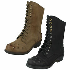 LADIES SPOT ON LACE UP LOW HEEL MILITARY STYLE STUDDED MID CALF BOOTS F50173
