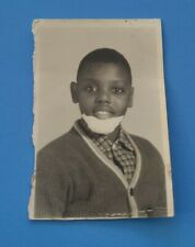 Vintage 1950s African American Black Boy w Bandage on Chin School Photo!
