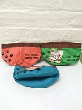 3 Pet Dog Travel Water Bowl Collapsible Canvas Portable Food Dish