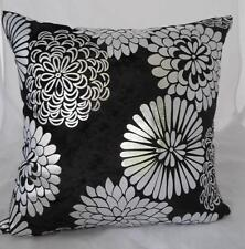 Stunning Metallic Silver Abstract Flowers Black Velvet Cushion Cover ~ 45cm