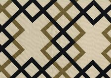 Braemore Fabric Beige Brown Black Geometric Cotton  Print Drapery Upholstery
