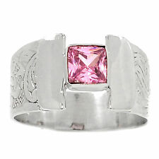 Pink Kunzite 925 Sterling Silver Ring Jewellery Size Uk Q Us 8