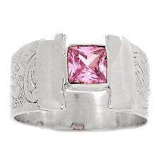 Rosa Kunzita 925 Sterling Silver Ring Joyería Size UK Q EE. UU. 8