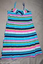 Girls Knit Summer Dress BLUE AQUA PINK GREEN TEAL STRIPE Sleeveless XL 14-16