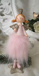 Angel Figure Spring Christmas Deco Pink Shabby Vintage