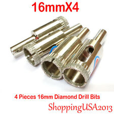 4 X 16mm Diamond Coated Core Drill Bits Set Hole Saw Cutting Marble Glass Tile