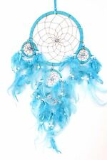 Turquoise Blue Dream Catcher Handmade W/ Leather & Feather Car Home Wall Decor