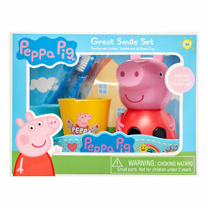 Peppa Pig 3-Piece Great Smile Toothbrush and Toothbrush Holder Set (R-L)