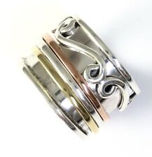 Tricolor Handmade Swirl Sterling Silver Copper Brass 3 Band Spin Ring Size 6 R55