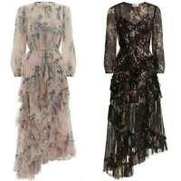 Womens Floral 100% Silk Wisteria Print Falbala Long Maxi Dress Bohemia Dress