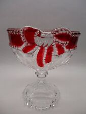 Vintage Ruby Red Flash Glass Pedestal Compote Candy Dish Ribbon and Bow