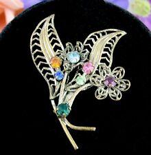 AZUB Austria Vintage RHINESTONE BROOCH Flower and Leaves BROOCH Pin Goldtone