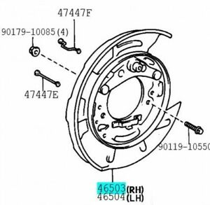 TOYOTA 46503-50040 Parking Brake Plate SUB ASSY RH Genuine Parts CENTURY CELSIOR