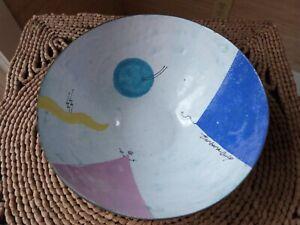 "Barbara Culp Signed Enamel Copper Art Bowl Modern Design 6 1/4"" x 3"""