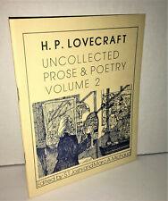 H P LOVECRAFT Uncollected Prose & Poetry Vol 2 Necronomicon Press PB 1980 Joshi