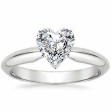 Stunning 0.30 Cts Heart Shape Natural Diamond Solitaire Ring In 18K White Gold
