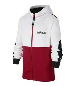 Nike Big Boys White/University Red Nike Air Logo Colorblock Full Zip Hoodie