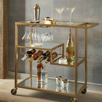 Mirrored Glass Top GOLD Finish Metal Bar Cart Rolling Tea Serving Trolley