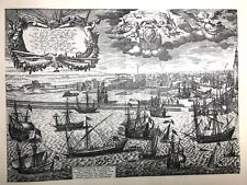 Etching Peter Scriverius Vintage Viking Ships Netherlands Holland Dutch Maritime